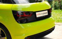 """Audi A1 Sportback Individual - Lackierung in """"acid green"""" hochglanz mit Akzenten in Klavierlack schwarz, S-Line Exterieur-Paket, Leichtmetallräder in 18"""" im """"S-Line Rotor-Design"""" mit Kontrastring in Wagenfarbe, Hauptscheinwerfer abgedunkelt, Rückleuchten abgedunkelt, etc."""