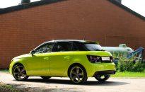 """Audi A1 Sportback Individual - Lackierung in """"acid green"""" hochglanz mit Akzenten in Klavierlack schwarz, S-Line Exterieur-Paket, Leichtmetallräder in 18"""" im """"S-Line Rotor-Design"""" mit Kontrastring in Wagenfarbe, Hauptscheinwerfer & Rückleuchten abgedunkelt"""